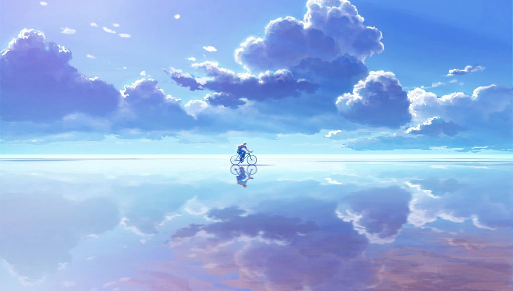 2560×1452-HD Bicycle Clouds Reflection Anime