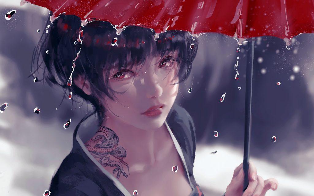 Anime Girl in Rain With Umbrella-4000×2500