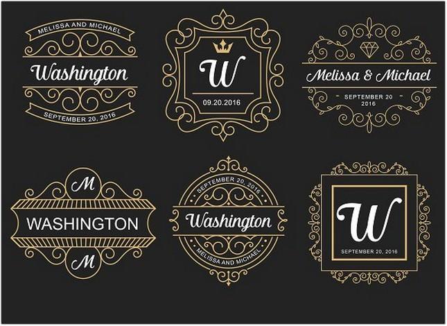 6 Wedding Monogram Logo Templates
