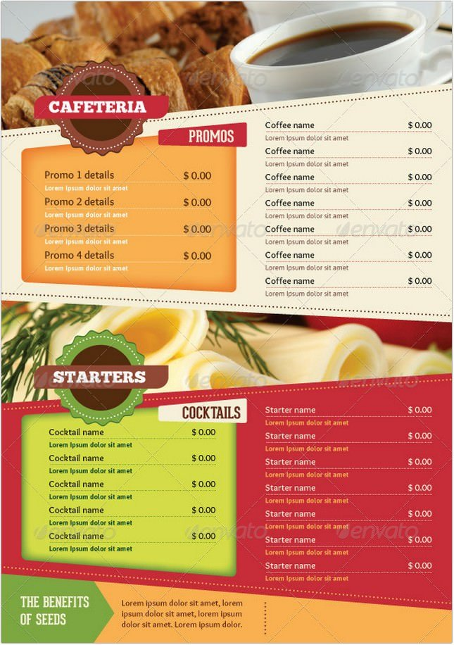 A4 Healthy Food Menu + Poster + Flyer + Cards