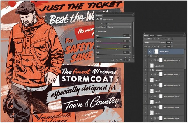Add a vintage feel with custom brush strokes
