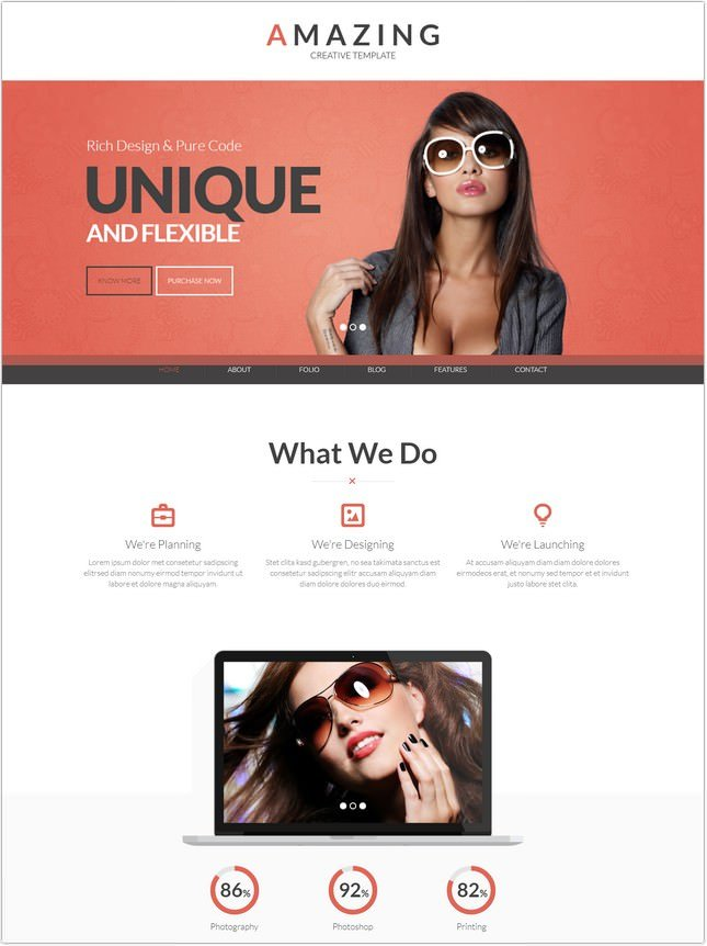 Amazing - One page & Multi page Parallax Template