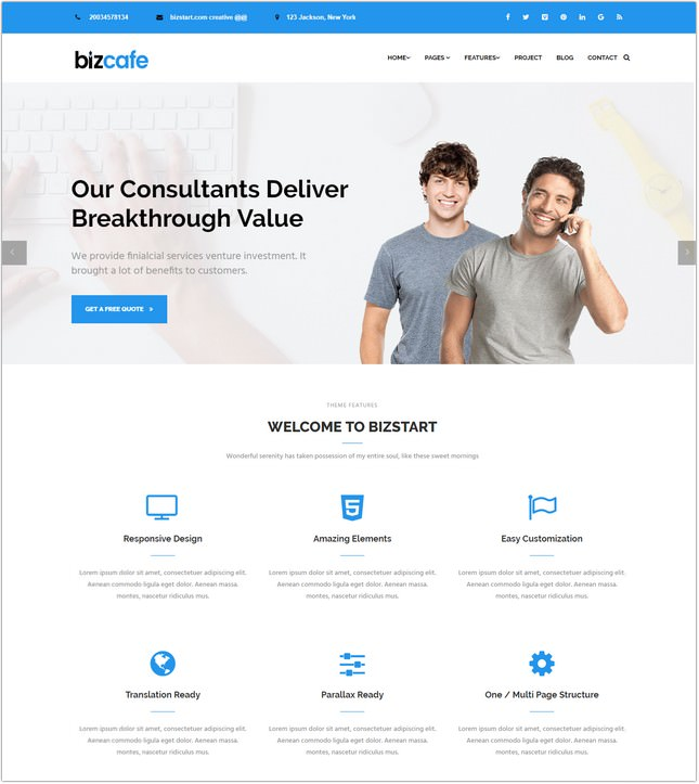 Bizcafe Corporate Template