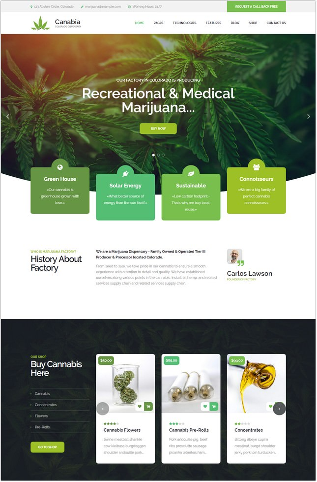 Canabia - Medical Marijuana Dispensary Template