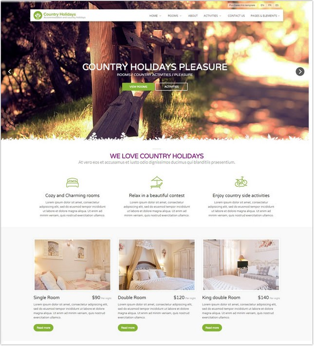 Country Holidays PHP Template