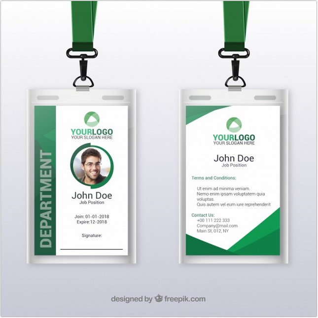Flat Id Card Template With Clasp