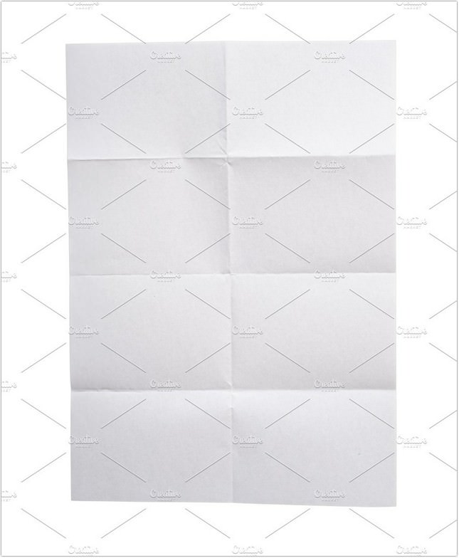 Folded White Paper isolate on white
