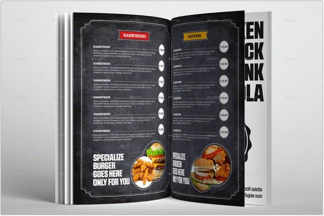 Food & Restaurant Menu Chalk Board Template