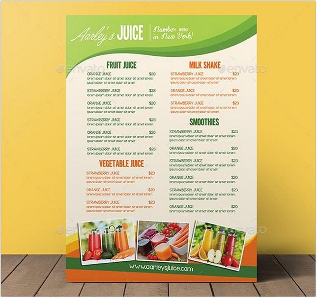 Fruit Juice Menu Flyer
