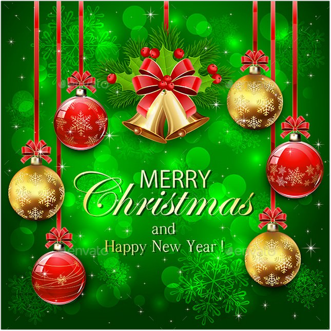 Green Background with Christmas Decorations