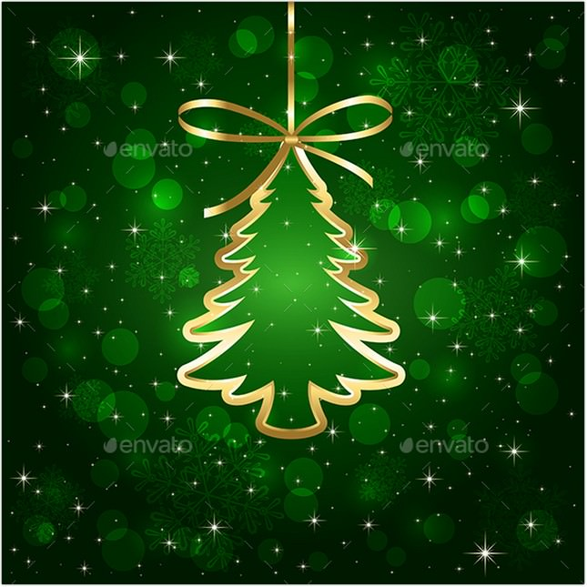 Green Background with Christmas Tree