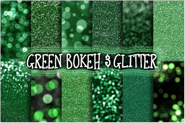 Green Glitter & Bokeh Backgrounds