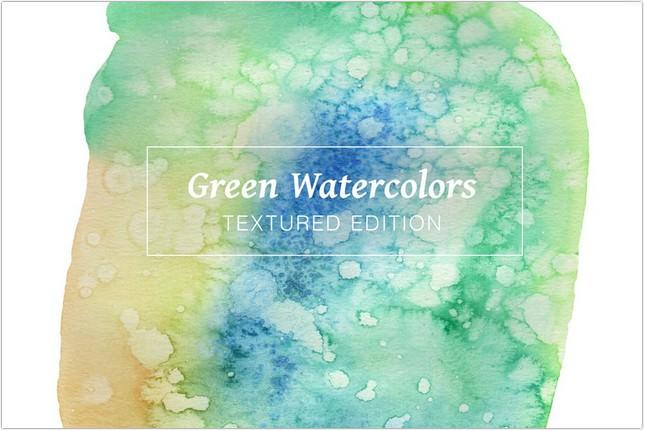 Green Textured Watercolors