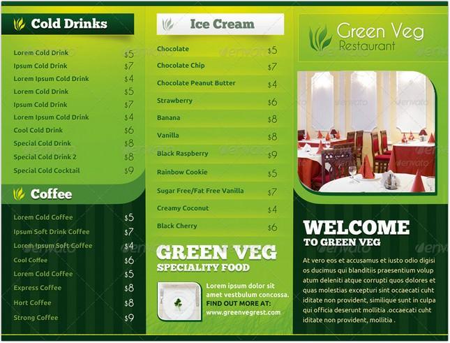 Green Veg Restaurant Tri-Fold Menu Card