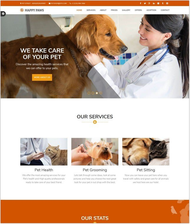 Happy Paws - Pet Responsive One Page PHP