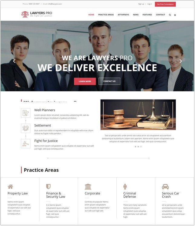 Lawyer Pro Responsive PHP Site Template for Lawyers
