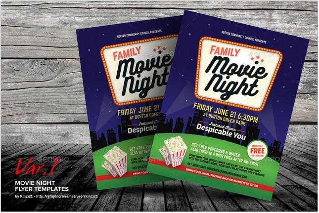 Movie Night Flyer Templates # 2