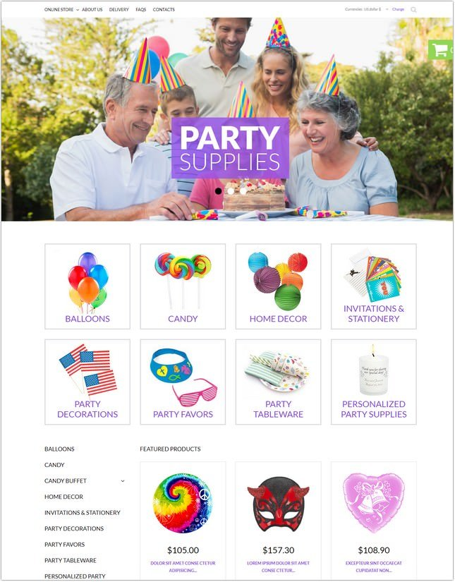 Party Items PHP Template