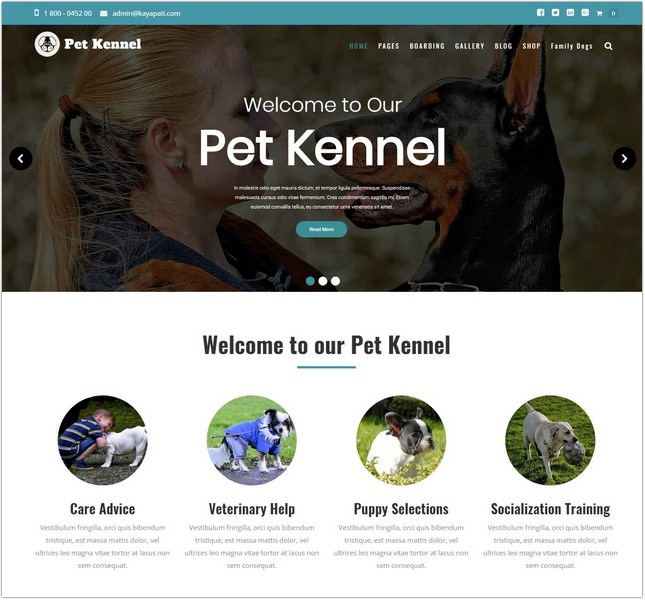Pet Care Dog Kennels PHP Theme