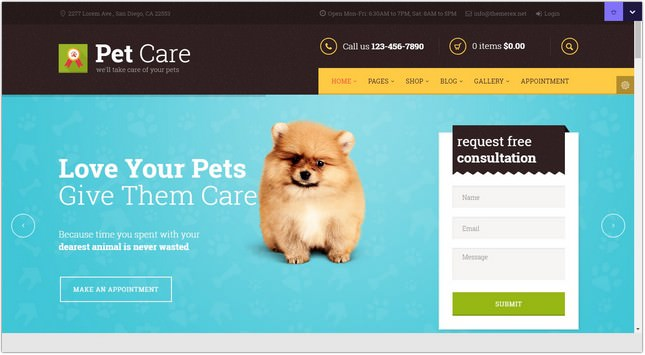 Pet Care PHP Theme