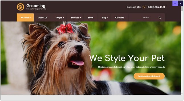 Pet Grooming Pet Shop PHP Theme