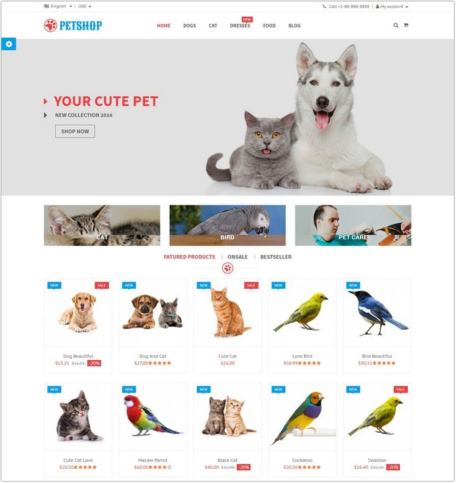 Petshop - Animal Care Responsive PHP Theme