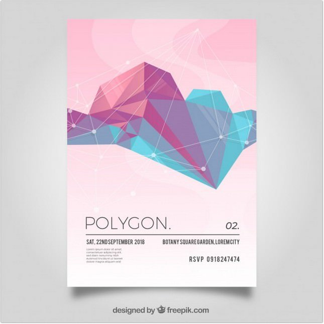 Poligonal Flyer in Soft Colors