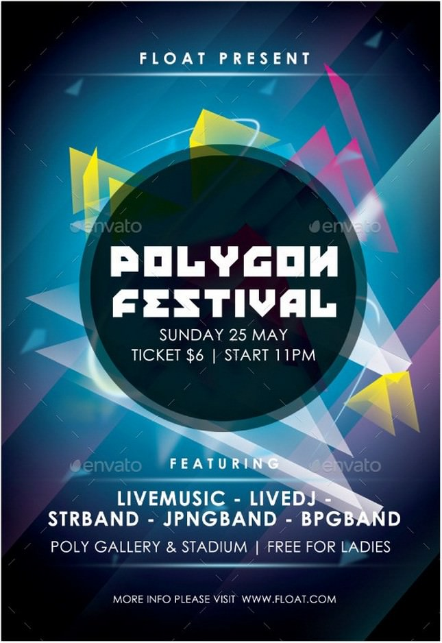 Polygon Festival Flyer Templates