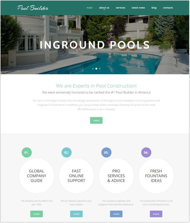 Pool Cleaning Responsive Template