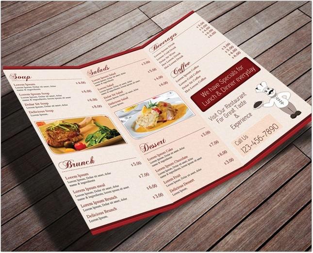Restaurant Menu Card - TriFold