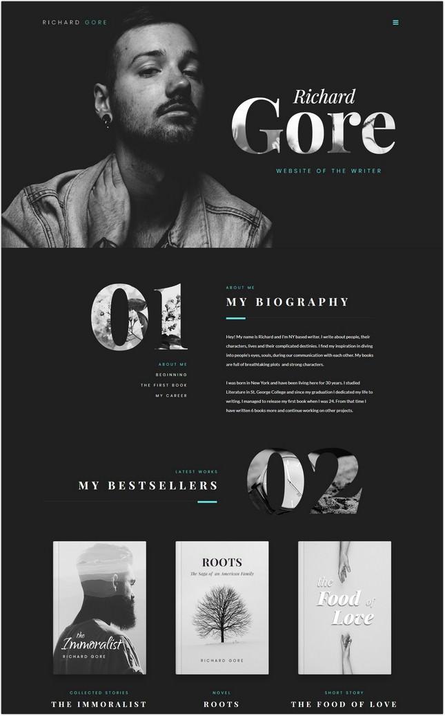 Richard Gore - Writer Portfolio Elementor PHP Theme