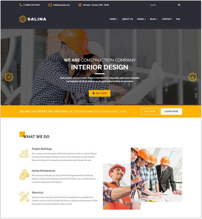 Salina – Construction Bootstrap 4 Template