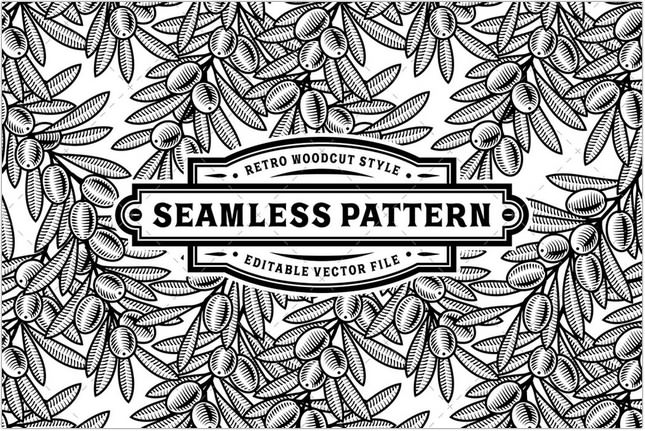 Seamless Olive Pattern Black And White
