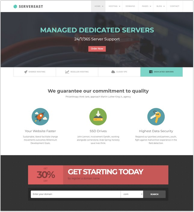 ServerEast - Web Hosting Template