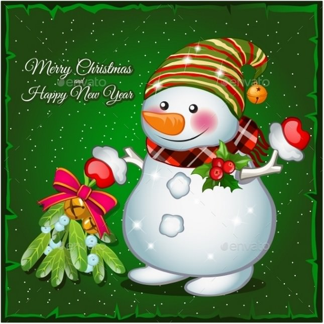 Snowman With Brooch On a Green Background