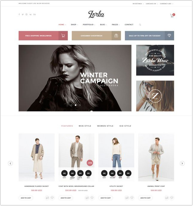 Zorka - An Intuitive Fashion PHP Template