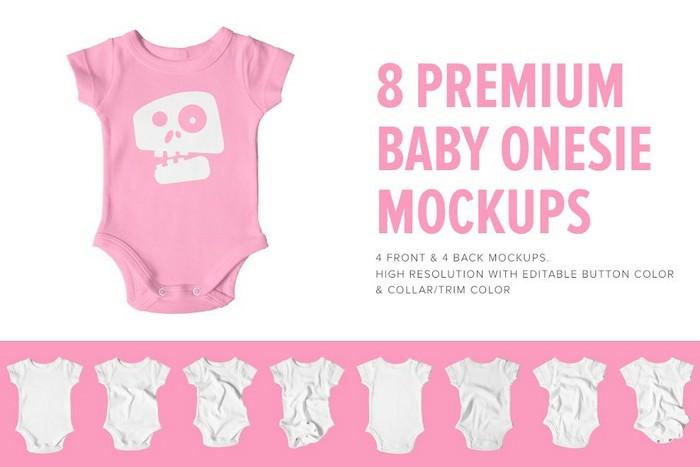 8 Premium Baby Shirt Onesie Mockups