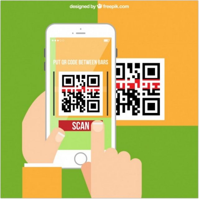 Abstract Phone Scanning QR Code - Vector Mockup