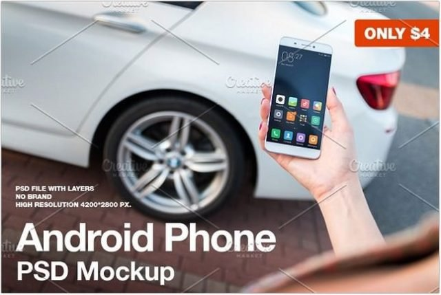 Android Phone Lifestyle Mockup psd
