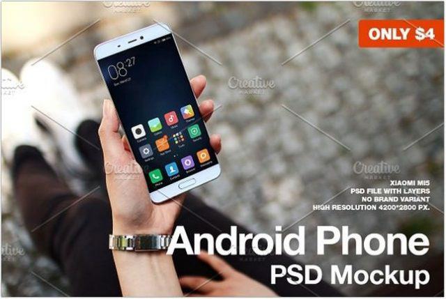 Android Phone Xiaomi Mi5 Mockup