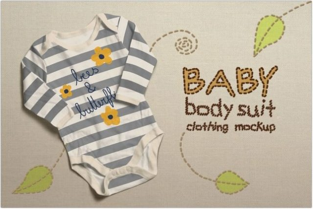 Baby Bodysuit Clothing Mock-up psd