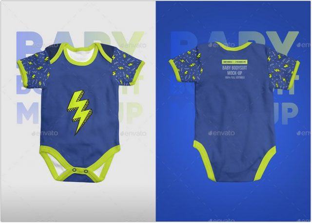 Baby Bodysuit Onesie Mock-up psd