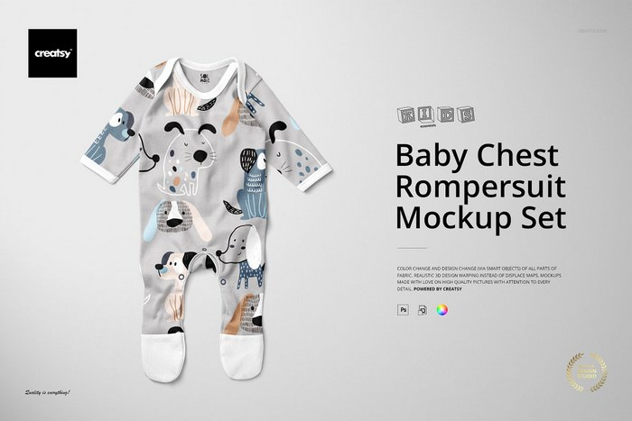 Baby Chest Rompersuit Mockup Set