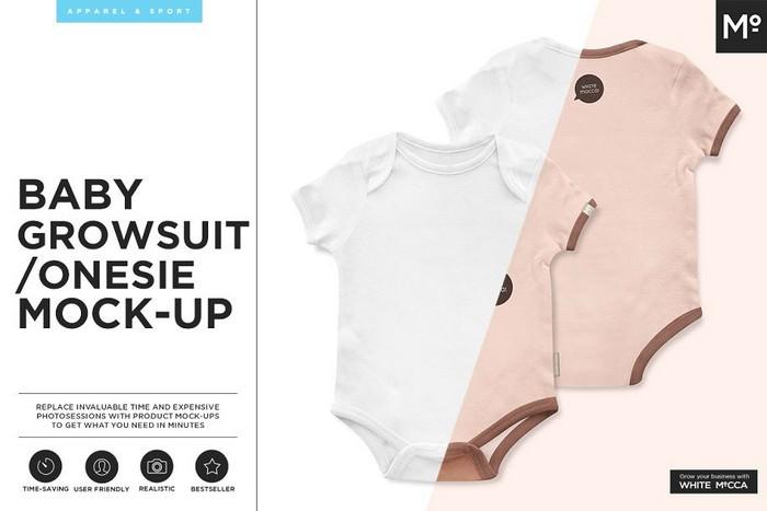 Baby Growsuit Onesie Mock-up