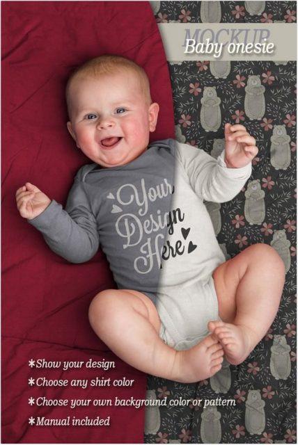 Baby onesie Bodysuit Mockup psd