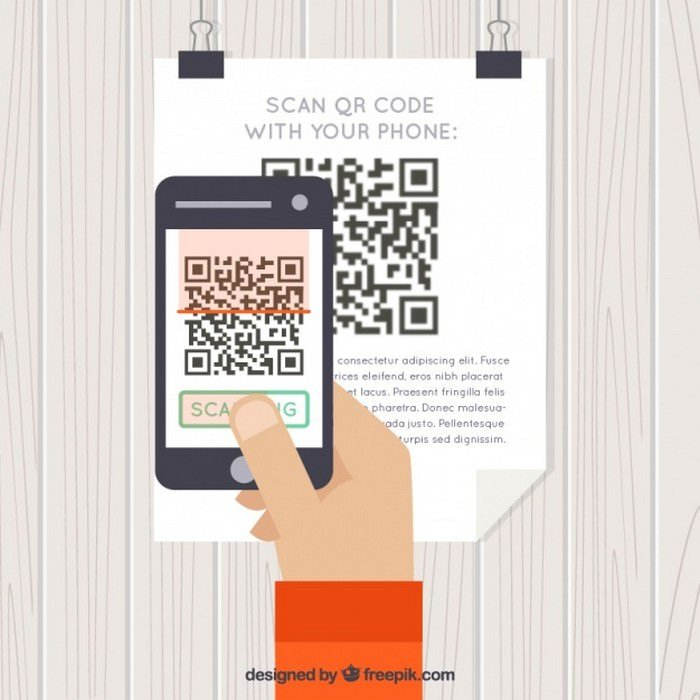 Background of Person Scanning QR Code - Vector