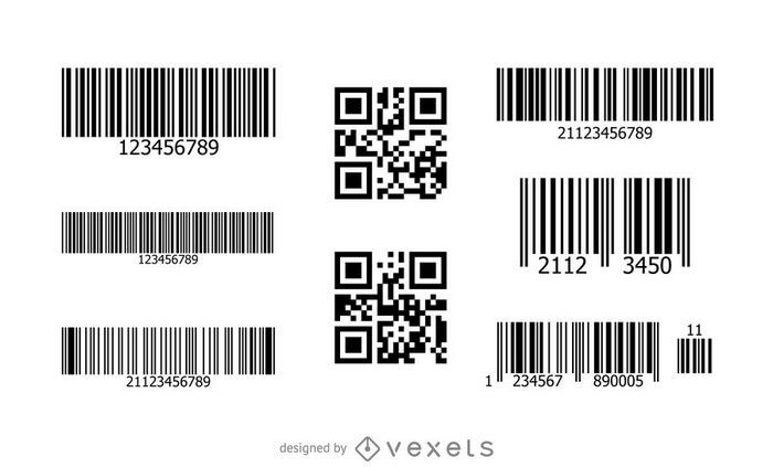 Barcode QR Code Mockup Set