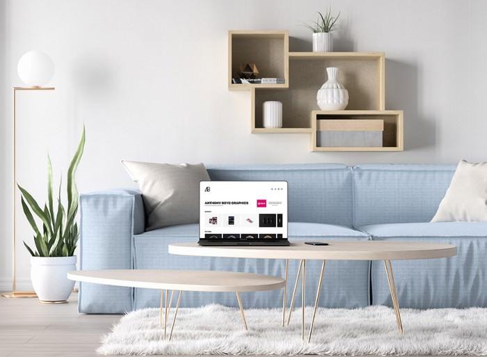 Bezel-Less MacBook Pro in Living Room Mockup