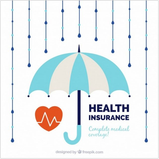 Cardiology Umbrella And Rain Vector