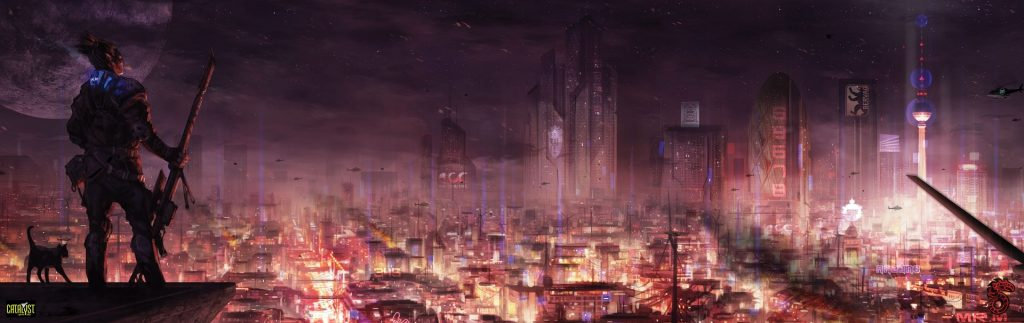 hd Cyberpunk wallpaper 1920 × 606